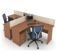 OPEN CONCEPT 2 WORKSTATION 1 WITH MOBILE PEDESTAL 3D