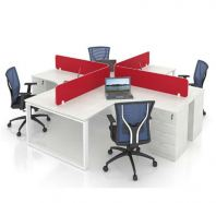 OPEN CONCEPT 4 WORKSTATION 1 WITH FIXED PEDESTAL 4D 1