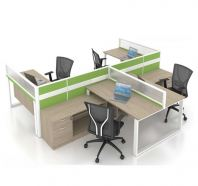 OPEN CONCEPT 4 WORKSTATION 1 WITH METAL O LEG & SIDE  CABINET