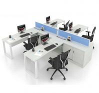 OPEN CONCEPT 4 WORKSTATION 1 WITH METAL O LEG & SIDE CABINET 1