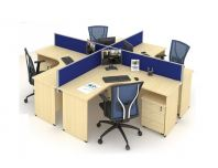 OPEN CONCEPT 4 WORKSTATION 1 WITH MOBILE PEDESTAL 3D