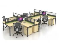 OPEN CONCEPT 6 WORKSTATION 2 WITH METAL N LEG & MOBILE PEDESTAL 1D1F