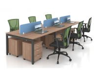 OPEN CONCEPT 6 WORKSTATION 2 WITH MOBILE PEDESTAL 3D 1