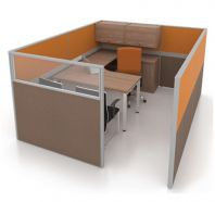 OPEN CONCEPT 1 WORKSTATION 1 WITH SIDE CABINET & HANGING CABINET 1