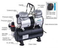 HAOSHENG TWIN CYLINDER AIR BRUSH COMPRESSOR WITH 3.5L TANK 1/4HP  230V 1450RPM 4 BAR AS196