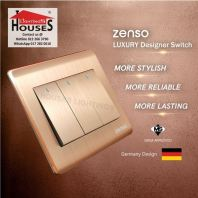 Zenso - Metallo Series 3 Gang 2 Way Switch - Aluminium Gold S1032-G