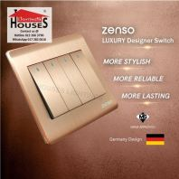 Zenso - Metallo Series 4 Gang 1 Way Switch - Aluminium Gold S1041-G