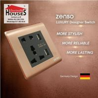 Zenso - Metallo Series 10A Universal Socket with Double USB Charging Outlet - Aluminium Gold S3725-G