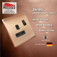 Zenso - Metallo Series 13A Switched Socket Outlet - Aluminium Gold S3013-G