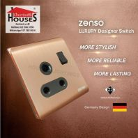 Zenso - Metallo Series 15A Switched Socket Outlet - Aluminium Gold S3015-G