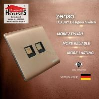 Zenso - Metallo Series Telephone + Data Outlet (Cat5e) - Aluminium Gold S2229-G
