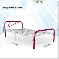 2B Great Economic Folding Single Bed Frame (Red Silver Mixed)