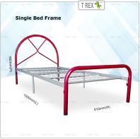 2B Pesaro Economic Folding Single Bed Frame (Red Silver Mixed)