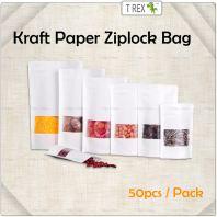 50pcs White Kraft Paper Zipper Bag / Kraft Paper Zip Lock Bag (2 Sizes)