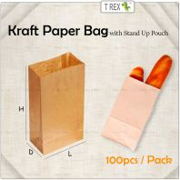 100pcs Brown Gift Paper Bag / Kraft Paper Bag with Stand Up Pouch