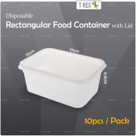 10pcs Microwave Safe Disposable Plastic Rectangular Food Container with Lid