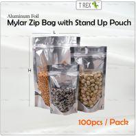 100pcs Aluminum Foil Mylar Zip Bag / Semi Metalized Zip Lock Bag with Stand Up Pouch
