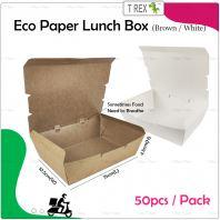 50pcs White Disposable Paper Lunch Box
