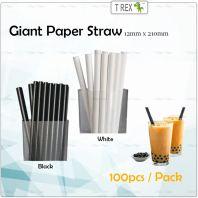 100pcs Giant Paper Straw / Bubble Tea Paper Straw 12mm x 210mm White