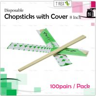 100 pairs Disposable Bamboo Chopsticks 8 Inch with Cover