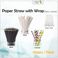 100pcs Paper Straw 6mm x 197mm Black with Wrap/Cover