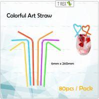 100pcs Flexible Straw / Art Straw 6mm x 260mm Colorful