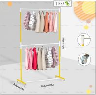 [PREMIUM QUALITY] Double Layers Clothes Hanger Rack(Solid Yellow White Mixed)