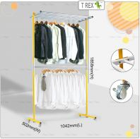 [PREMIUM QUALITY] 4+1 Double Layers Clothes Hanger Rack(Solid Yellow White Mixed)