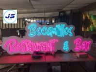 LED NEON Sign - Ice Blue And Pink  ~ Bocadillos Restaurant & Bar