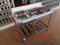 SS-07 Stainless Steel 304 Double Kitchen Sink Basin Bowl With Shelf/�׸�ϴ����ͼ�