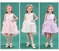 New Year feast - Girl Organza Dress in White, Pink and Purple