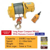 COMEUP Long Rope Compact Winch with Remove Control CWL-200L