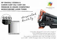 HP CANON CB435A/CE285A/CART312/CART325 HI-GRADE COMPATIBLE TONER