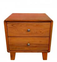 2 Drawers Boxy Bedside Table (Natural)