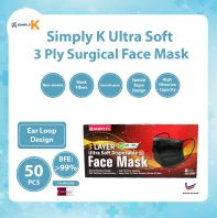 Simply K 3 Ply Surgical BFE >99% @ Adult Black Face Mask @ Ear Loop
