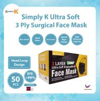 Simply K 3 Ply Surgical BFE >99% @ Adult Black Face Mask @ Head Loop