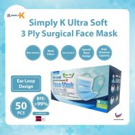 Simply K 3 Ply Surgical BFE >99% @ Adult  Face Mask @ Ear Loop
