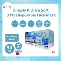 Simply K 3 Ply Disposable BFE >95% @ Adult Face Mask @ Head Loop