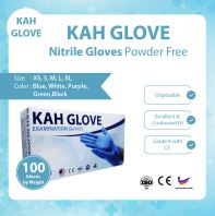 KAH Glove Nitrile Glove Powered Free @ CE Certified