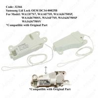 Code: 32366 Samsung Lid Lock OEM DC34-00025B For WA13F7S7 / WA14F7S9 / WA14J6750SP / WA14J6750SV / WA16F7S9 / WA16J6750SP / WA16J6750SV