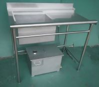 Stainless Steel Sink for Dishwasher with grease trap 白钢洗碗机洗盆配环保过滤油系统