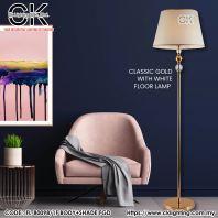 CK LIGHTING CLASSIC GOLD WITH WHITE FLOOR LAMP(FL-80098/1F BODY+SHADE FGD)
