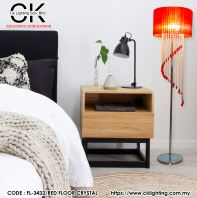 CK LIGHTING  ROMANTIC LUXURIOUS FABRIC CRYSTAL TASSEL LED FLOOR LAMP ( FL-3433 RED COLOR)