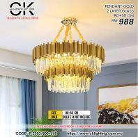 CK LIGHTING PENDANT GOLD 2 LAYER GLASS 80+55CM (P-2303/800+550)