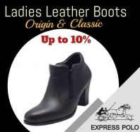EXPRESS POLO Full Leather 3inch Ladies Shoe- LL-90437- BLACK Colour