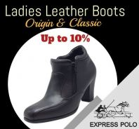 EXPRESS POLO Full Leather 3inch Ladies Shoe- LL-90438- BLACK Colour