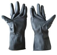 Black Colour Rubber Gloves