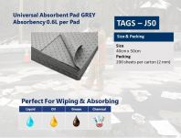 [loose Pack] Universal Absorbent Pad TAGS-J50,Grey, absorbency 0.6L/Pad, size: 40cmx50cmx 2mm