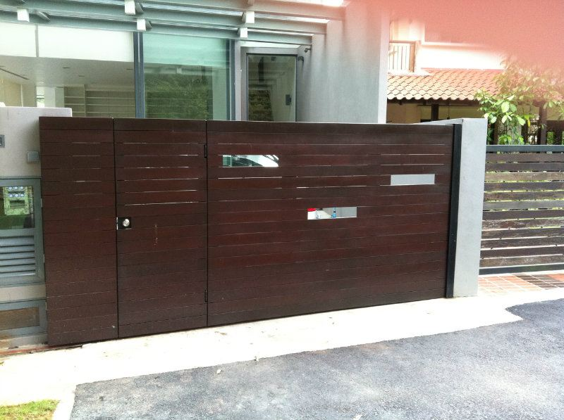 Singapore main sliding gate chengai wood design main gate for Wooden main gate design