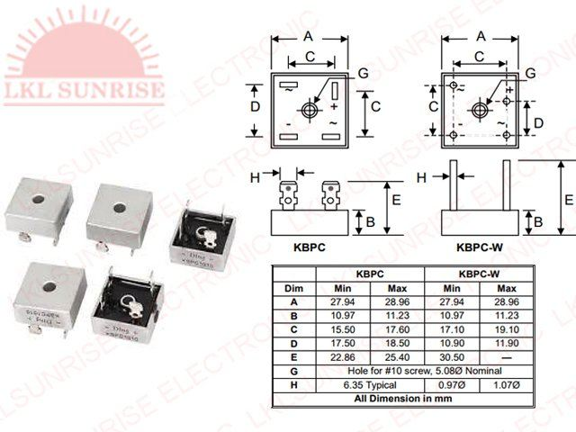 single phase silicon bridge rectifier 25a kbpc25 series